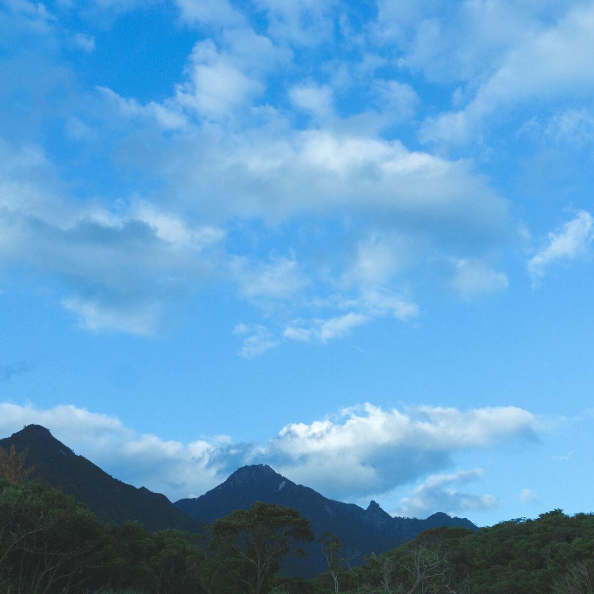 夕暮れ時 屋久島の山々 屋久島山とジュエリー オーダーメイドマリッジリングのモチーフ