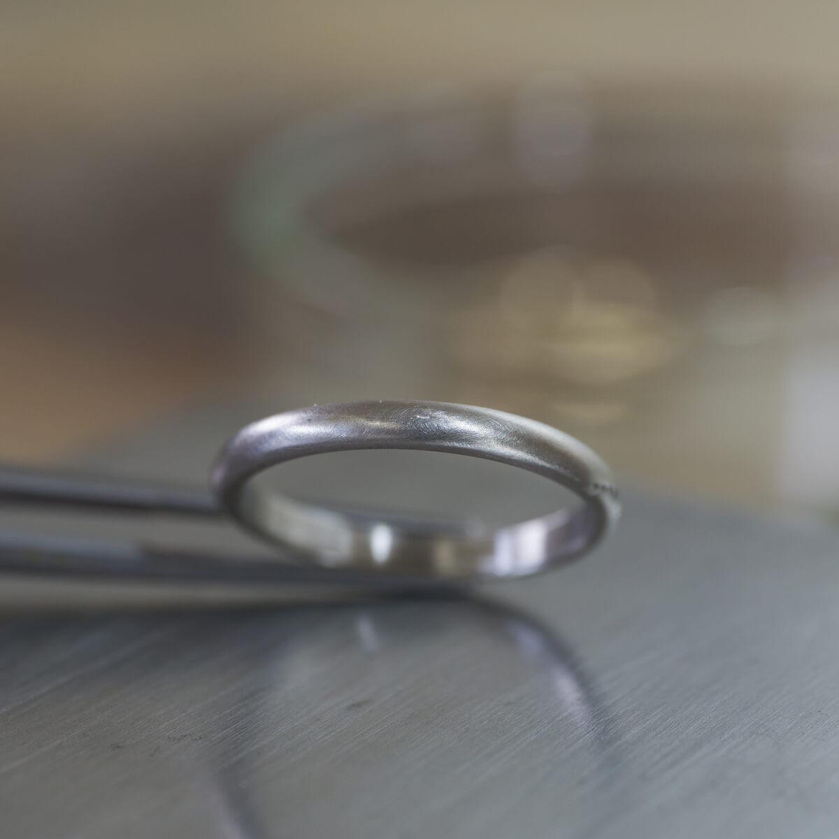 角度3 オーダーメイドマリッジリング ジュエリーのアトリエ プラチナリング 屋久島のシダモチーフ 屋久島でつくる結婚指輪