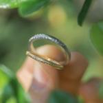オーダーメイドマリッジリング 屋久島の緑バック プラチナ、ゴールド 屋久島のシダモチーフ 屋久島でつくる結婚指輪
