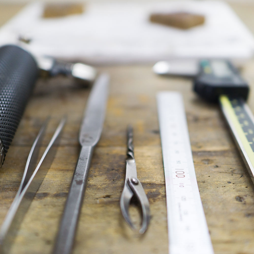 オーダーメイドマリッジリングの制作道具 ジュエリーのアトリエ  屋久島で作る結婚指