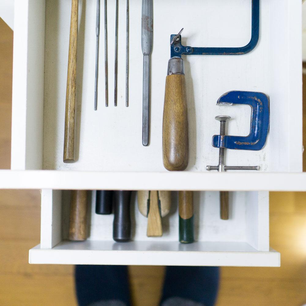 引き出しの中 オーダーメイドマリッジリングの制作道具 ジュエリーのアトリエ  屋久島で作る結婚指