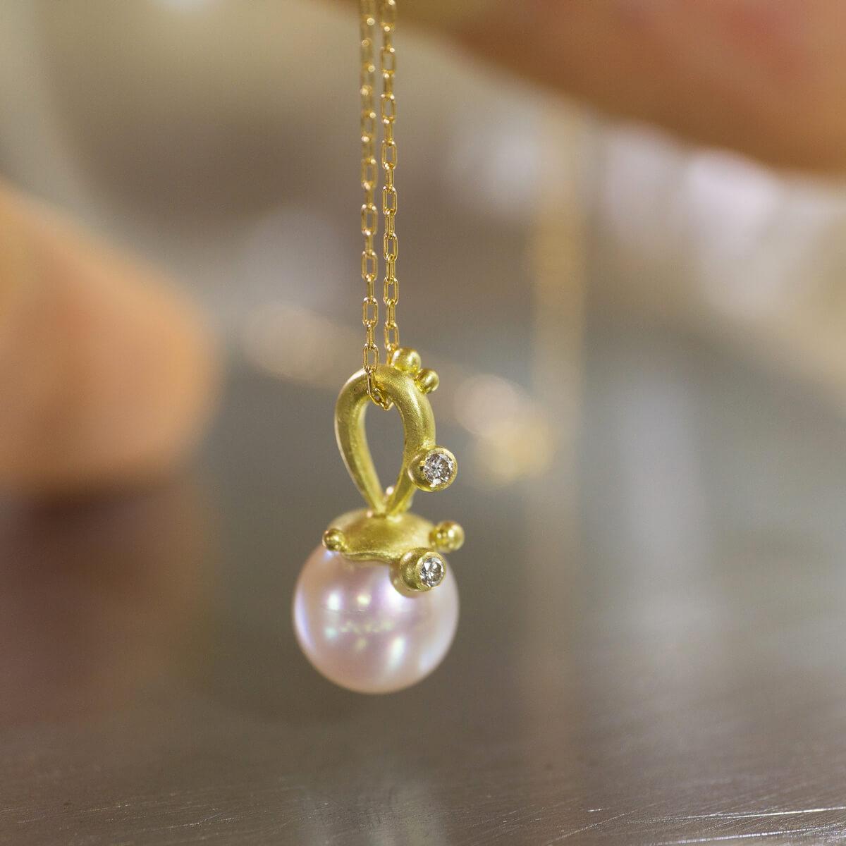 リメイクジュエリーのネックレス パール、ゴールド、ダイヤモンド 屋久島のしずくモチーフ オーダメイドの手作りジュエリー