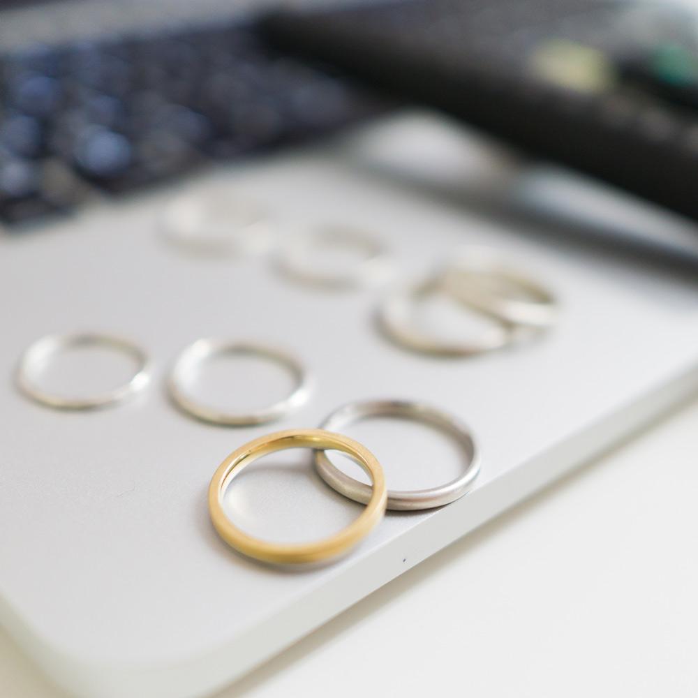 オーダーメイドマリッジリングのサンプル シルバー、ゴールド 屋久島でつくる結婚指輪