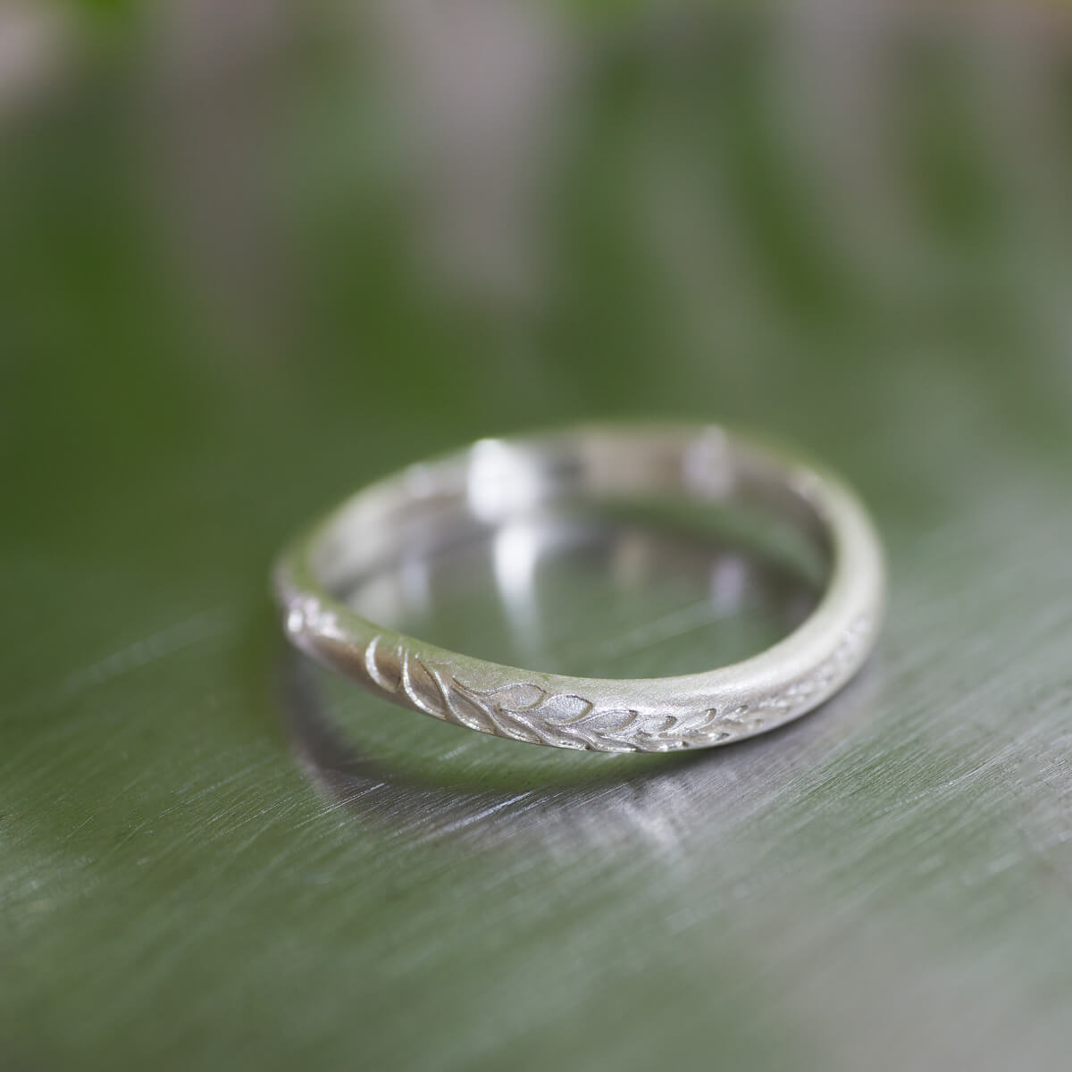 オーダーメイドマリッジリング ジュエリーのアトリエ  屋久島のシダモチーフ シルバー 屋久島でつくる結婚指輪
