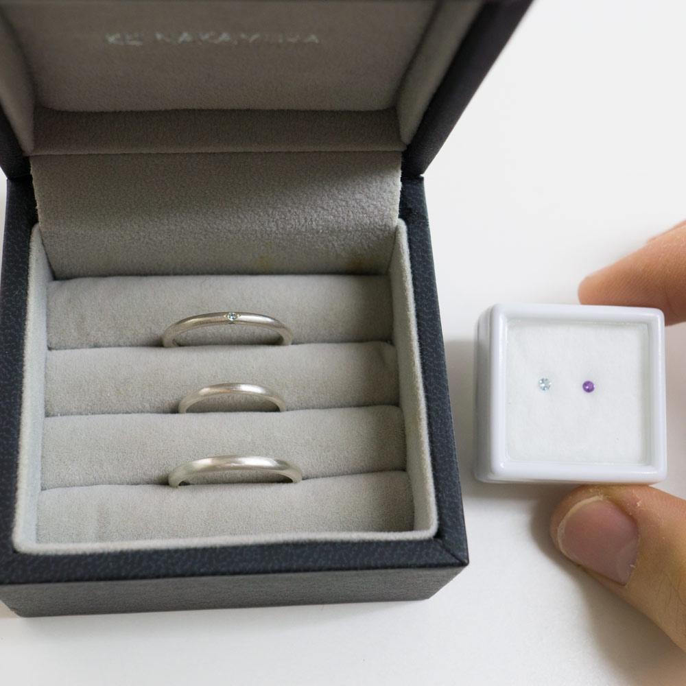 結婚指輪のサンプルリング 誕生石 シルバー 屋久島でつくる結婚指輪