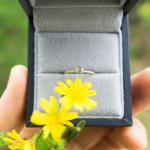 タンポポの花 ケースに入った婚約指輪 ゴールド、ダイヤモンド オーダーメイドエンゲージリング 屋久島でつくる婚約指輪