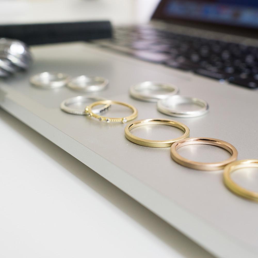 結婚指輪のサンプルリング ゴールド、シルバー 屋久島でつくる結婚指輪