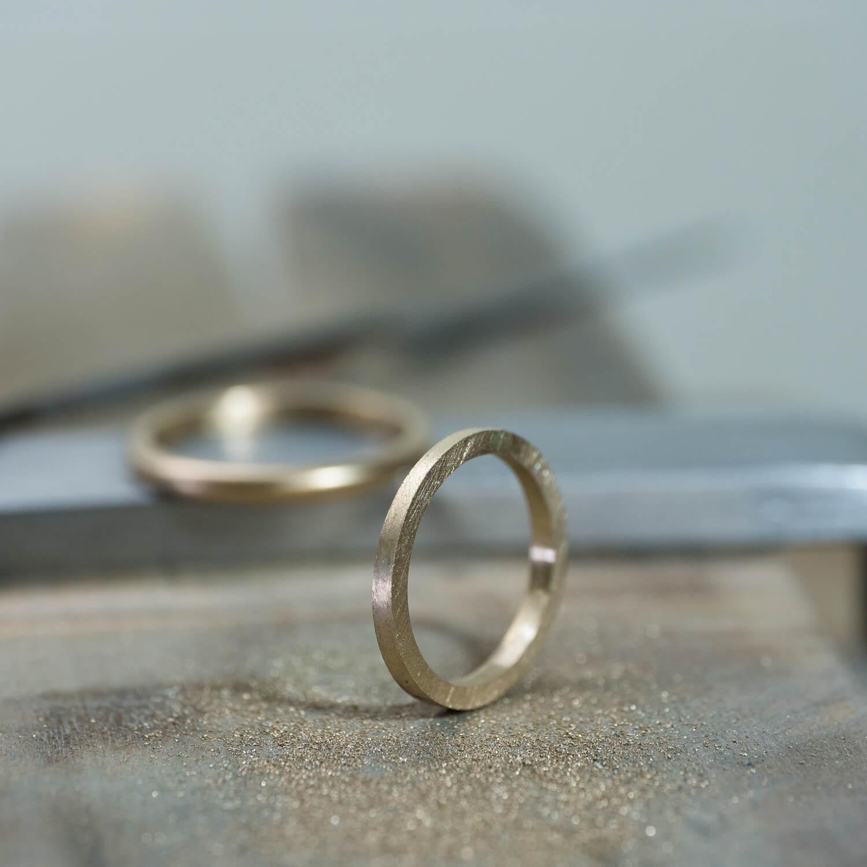 オーダーメイドマリッジリングの制作風景 ジュエリーのアトリエ シャンパンゴールド 屋久島でつくる結婚指輪