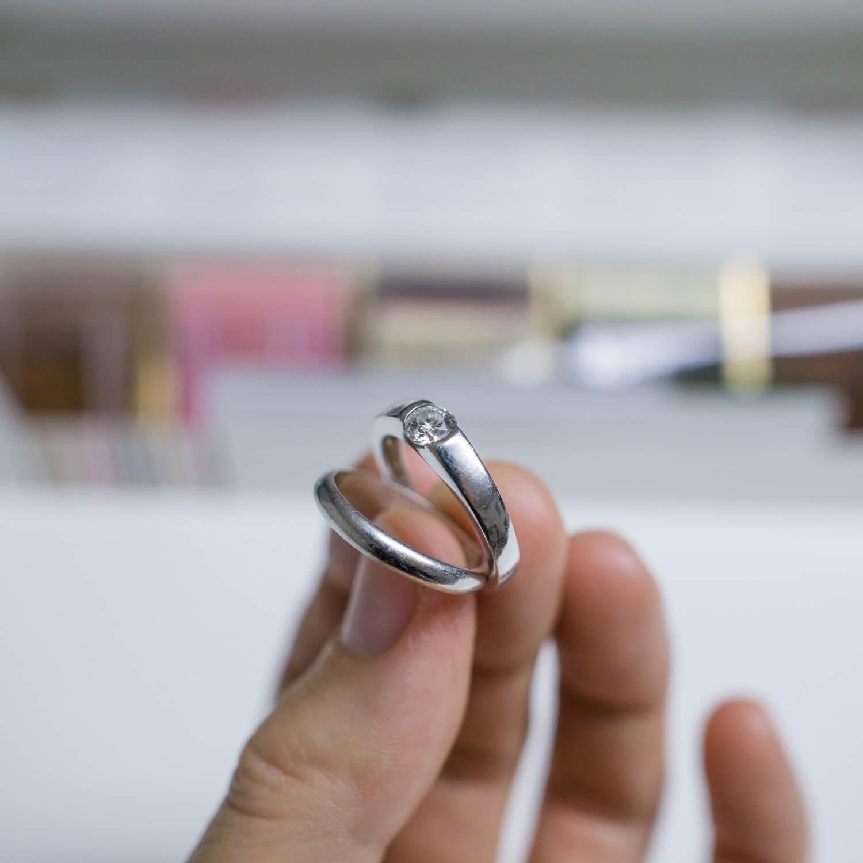 プラチナリング、ダイヤモンド リメイクジュエリーの素材 屋久島でハンドメイドジュエリー