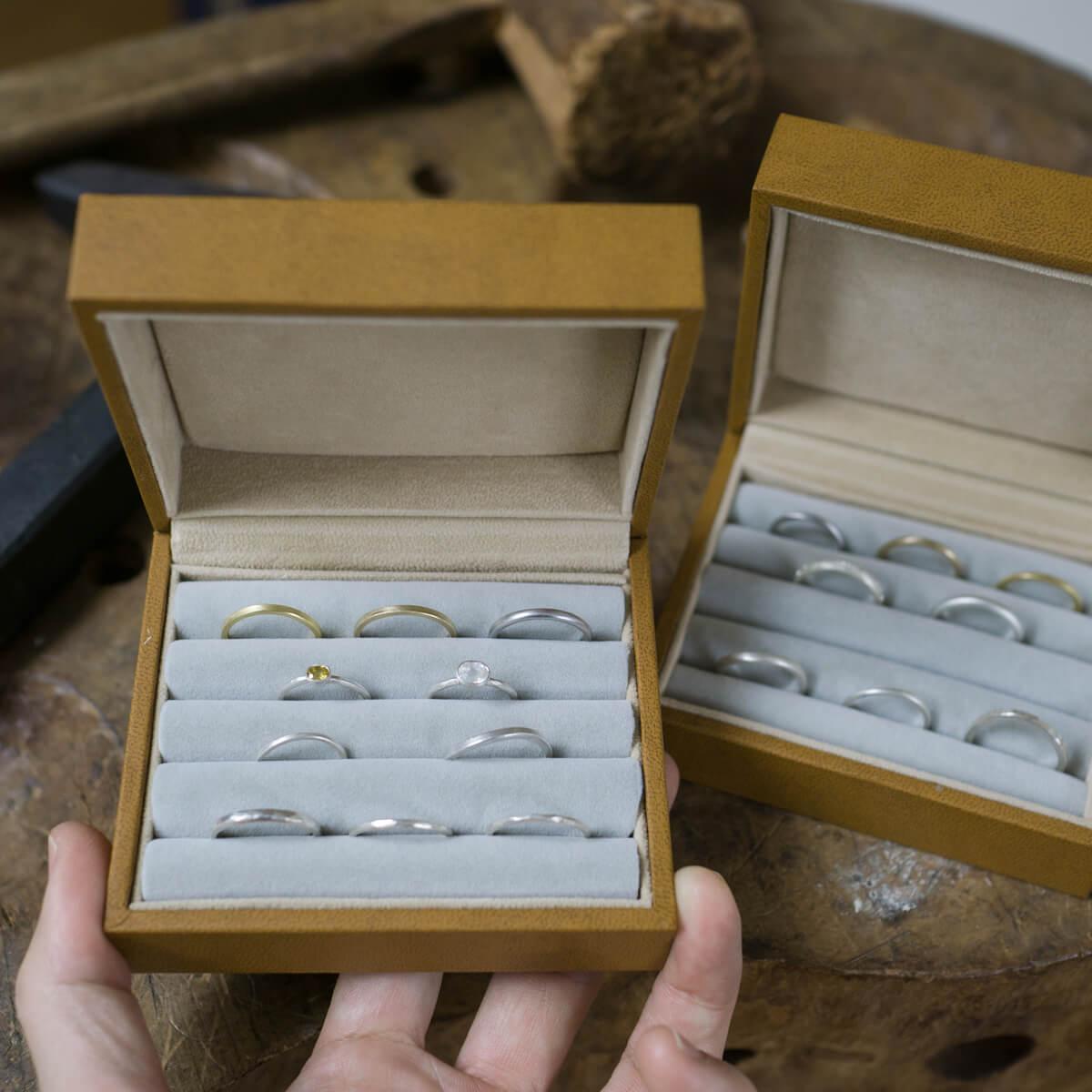 オーダーメイドマリッジリングのサンプルリング シルバー、ゴールド、プラチナ ジュエリーのアトリエ 屋久島でつくる結婚指輪