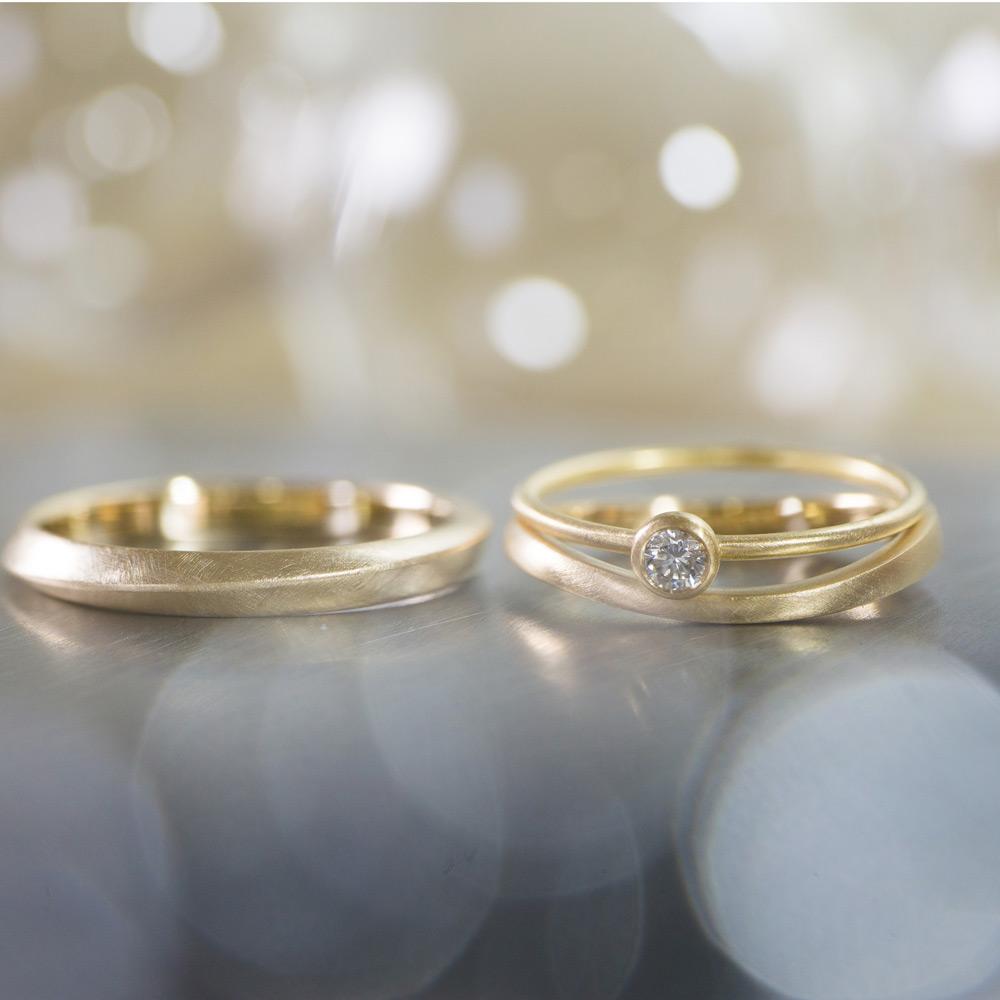 オーダーメイドマリッジリング、エンゲージリング ジュエリーのアトリエに指輪 ゴールド、ダイヤモンド 屋久島で作る結婚指輪