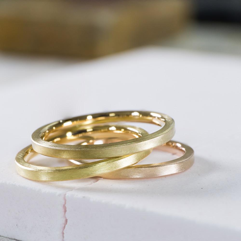 マリッジリングのサンプル3本 ジュエリーのアトリエ ゴールド 屋久島でつくる結婚指輪