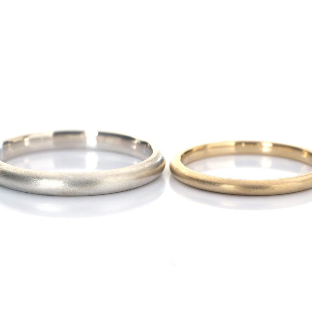オーダーメイドマリッジリング 白バック シルバー、ゴールド 屋久島で作る結婚指輪