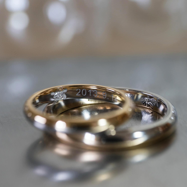 角度2 オーダーメイドマリッジリング 屋久島ジュエリーのアトリエ ゴールド、プラチナ 屋久島の海モチーフ 屋久島でつくる結婚指輪