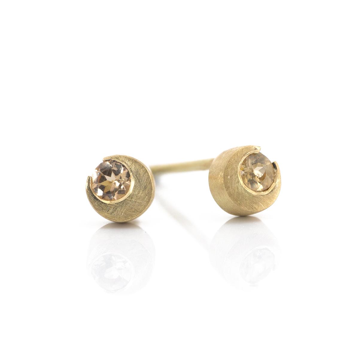 18k yellow gold× imperial Topaz, moonlight earrings