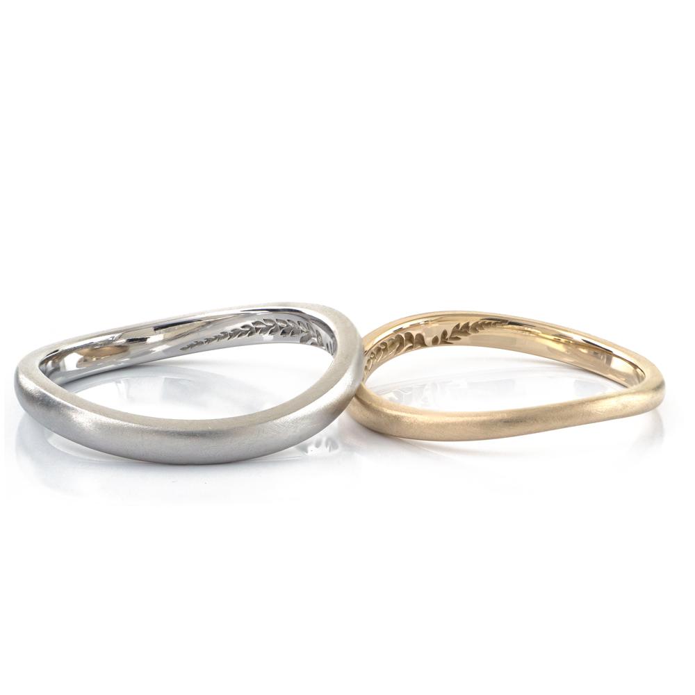 オーダーメイドマリッジリング ゴールド、プラチナ 屋久島のシダモチーフ 屋久島で作る結婚指輪