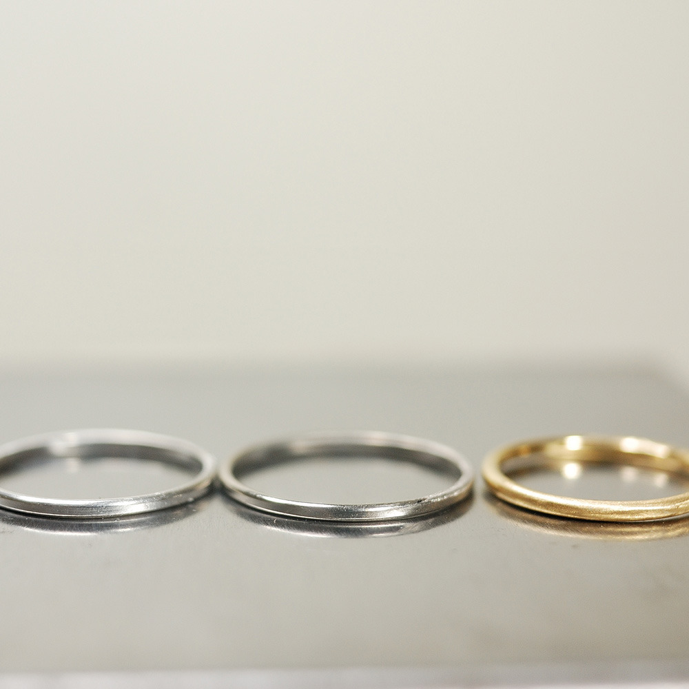 オーダーメイドマリッジリング サンプルリング プラチナ、ゴールド 屋久島でつくる結婚指輪