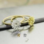 お花の指輪 作業風景 ゴールド、シルバー 屋久島ツワブキモチーフ