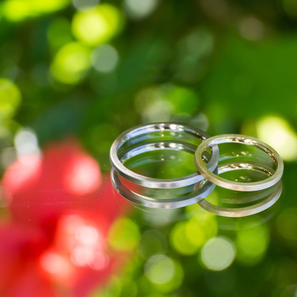 屋久島の緑に包まれた指輪 オーダーメイドマリッジリング 屋久島の緑バック プラチナ、ゴールド 屋久島で作る結婚指輪
