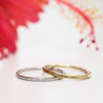 屋久島のハイビスカス、オーダーメイドマリッジリング ラチナ、ゴールド 屋久島で作る結婚指輪
