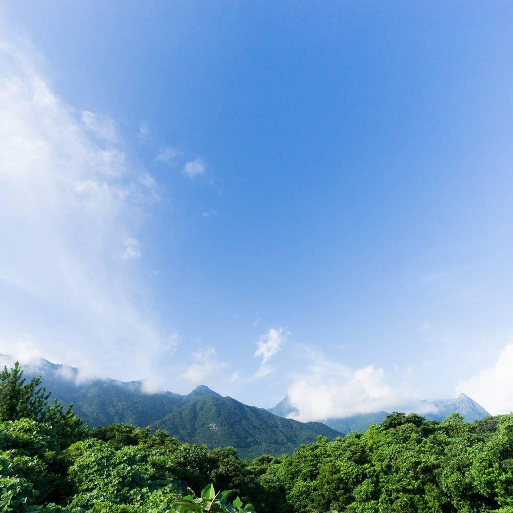 屋久島の山々、空