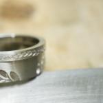 オーダーメイドマリッジリング制作風景 プラチナ、シダ模様 屋久島で作る結婚指輪