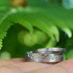 オーダーメイドマリッジリング プラチナ、シダ模様 屋久島で作る結婚指輪
