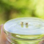 お花のピアス 屋久島の緑バック ゴールド、ダイヤモンド