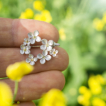 お花のブローチ 手に持って 屋久島の菜の花畑バック オーダーメイドジュエリー