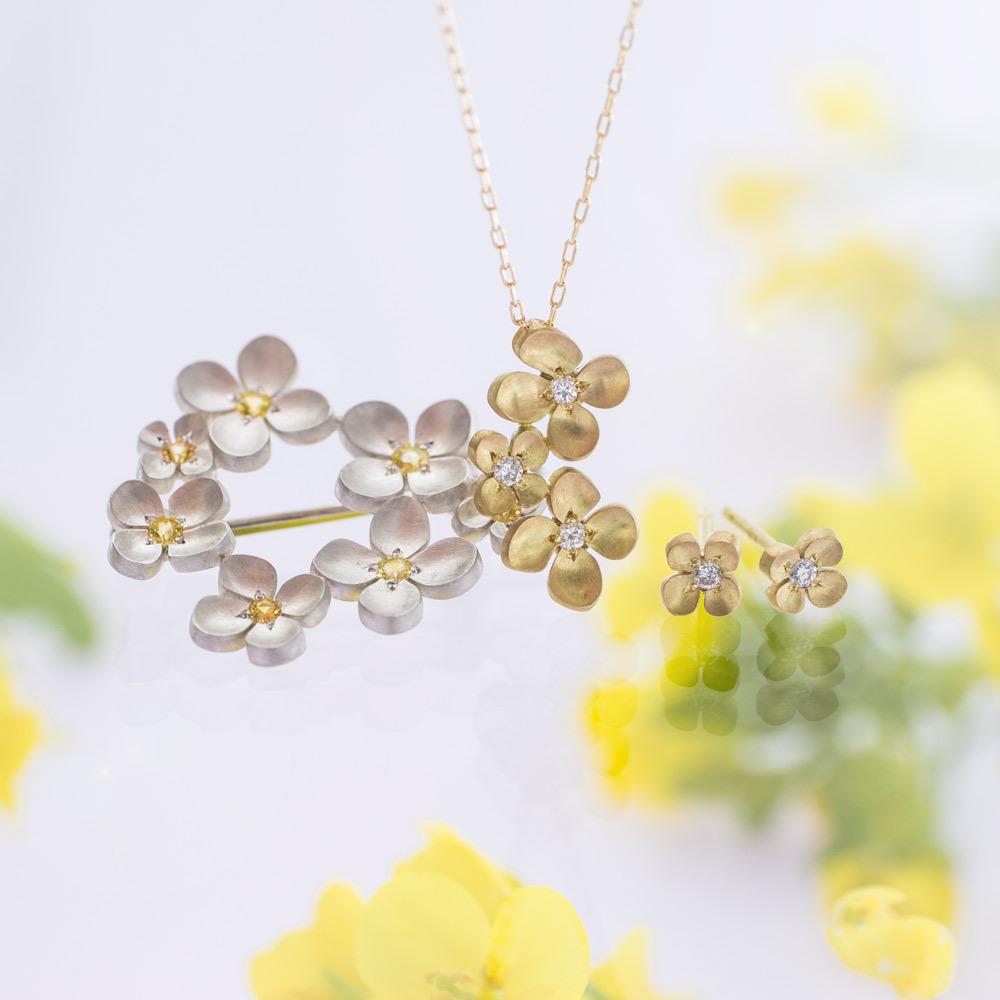 お花のジュエリー 屋久島の菜の花モチーフ ゴールド、シズバー、ダイヤモンド、イエローサファイア ネックレス、ピアス、ブローチ