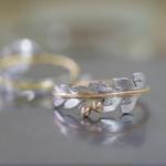 シダの指輪2本 プラチナ、ゴールド 屋久島で作る結婚指輪
