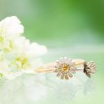 お花の指輪2本 屋久島しずくギャラリーのディスプレイ ゴールド、シルバープラチナ、ダイヤモンド 婚約指輪