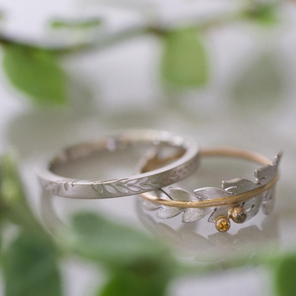 屋久島で作る結婚指輪 葉っぱに囲まれて シダ模様、プラチナ、ゴールド