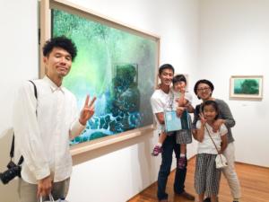 高田裕子 個展風景 記念撮影 屋久島の森 絵画