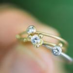 ゴールドリング、プラチナリング、ダイヤモンド 屋久島の緑バック オーダーメイドの婚約指輪