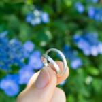 屋久島の紫陽花バック シルバーのリング 手に持って オーダーメイドの結婚指輪