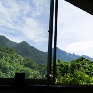 ジュエリーのアトリエから望む屋久島の山々