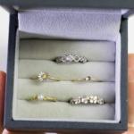 ケースの中に入った指輪 ゴールド、プラチナ、ダイヤモンド 屋久島の自然をモチーフにしたジュエリー