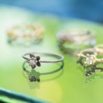 屋久島しずくギャラリー ディスプレイに並んだ指輪 プラチナ、ゴールド、ダイヤモンド 屋久島の植物モチーフ
