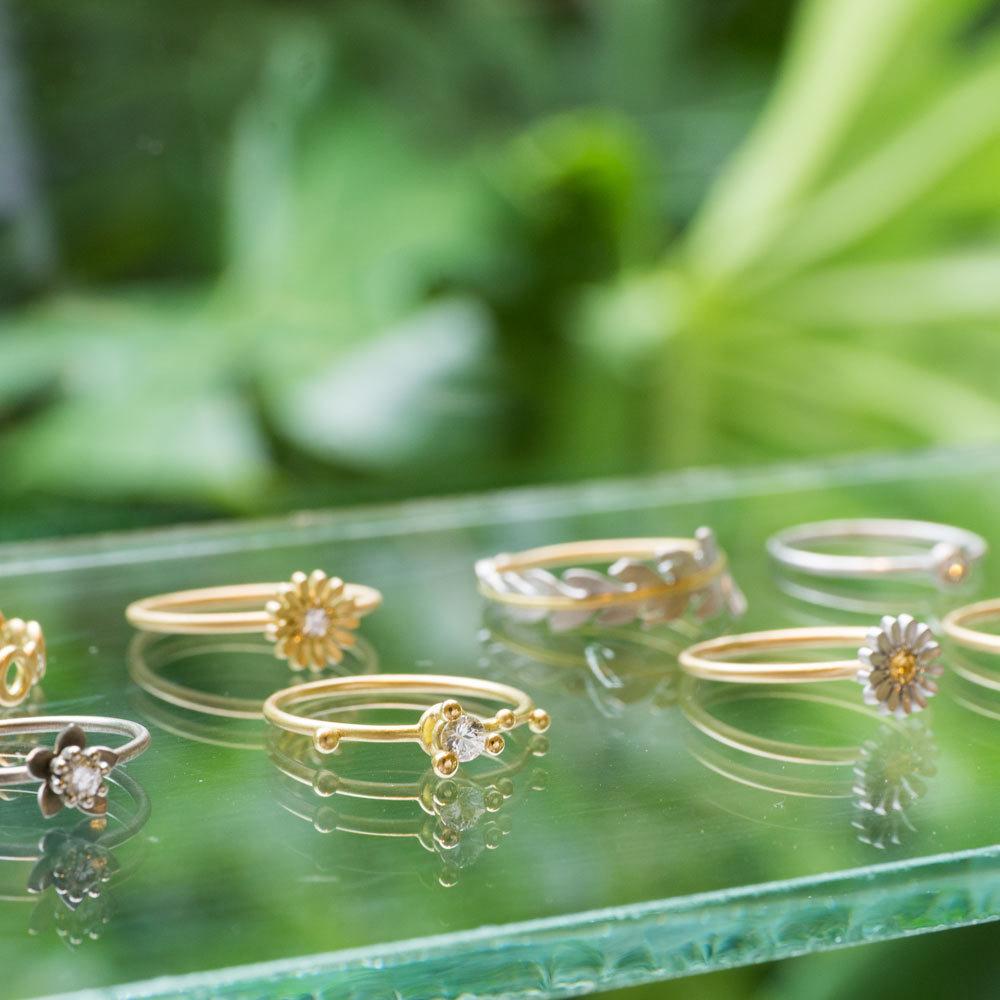 しずくギャラリーのディスプレイ 並ぶ指輪 ゴールド、プラチナ 屋久島の緑に囲まれて