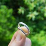 結婚指輪のサンプル シルバー 屋久島の緑バック 手に持って
