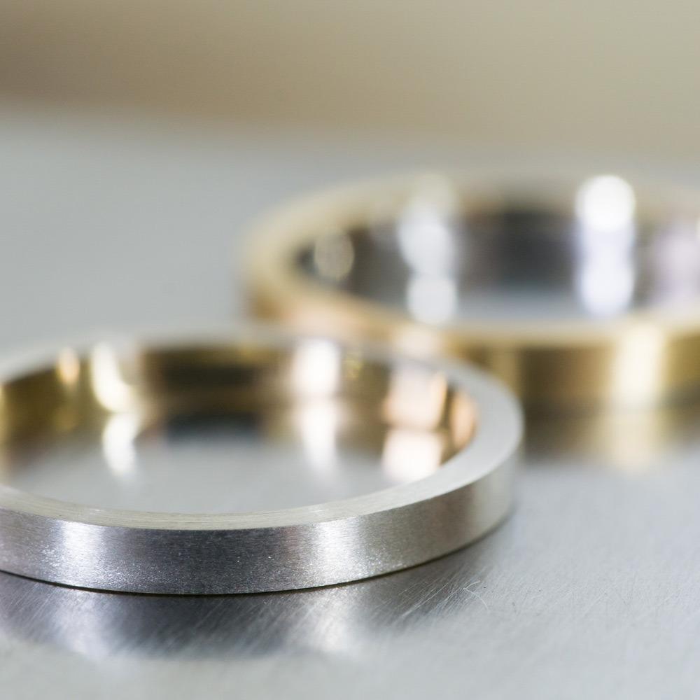 プラチナとゴールドのコンビリング 結婚指輪の制作風景 屋久島でオーダーメイド